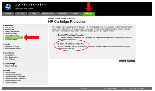 Protected Cartridge - how to disable it? - HP Support