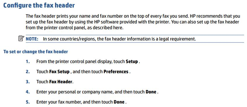 what is my fax header hp support forum 6471520